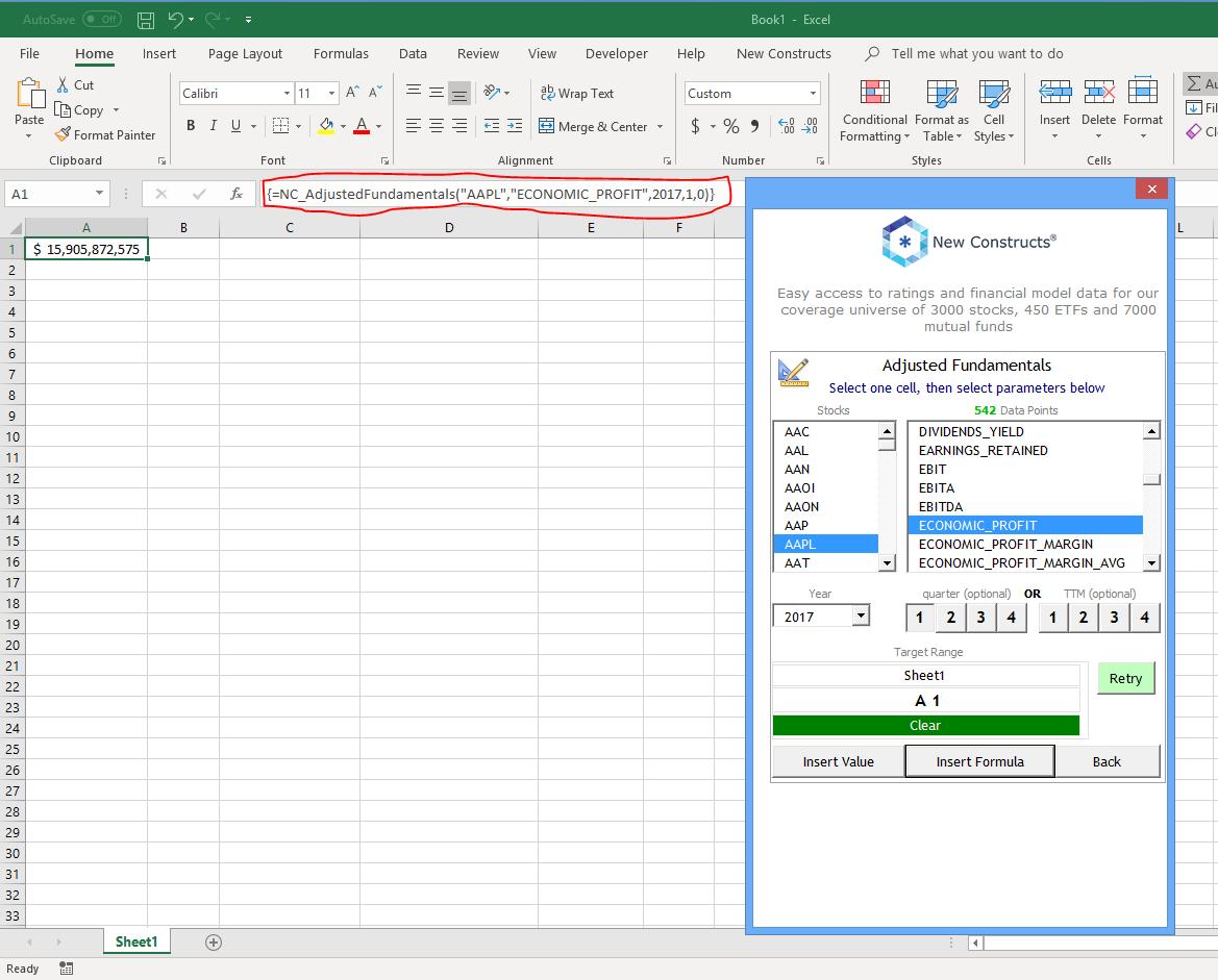 Excel Add-In Adjusted Fundamentals Documentation